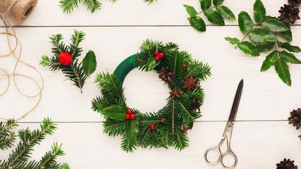 Handmade tools for making christmas wreath
