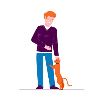 Guy with a cat. Character design. Isolated. Flat design vector illustrations.