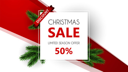 Christmas sale, discount banner, Winter off-sale vector illustration.