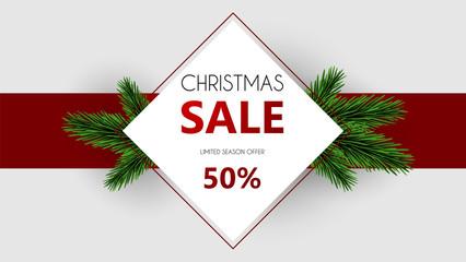 Christmas sale, discount banner, Winter off-sale vector illustration.