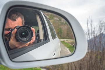 Taking pictures from a car