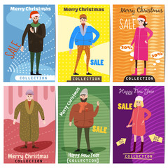 Winter sale. Set of card templates for posters. Characters of a man and a woman in winter clothes of different ages, trend flat style, vector illustration, isolated