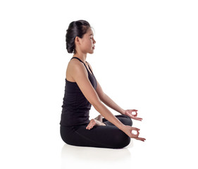 young woman fitness exercise  doing namaste pose in isolate on white background, studio, gym ,home, with clipping path.