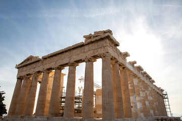Parthenon on Acropolis, Athens, Greece. It is a main tourist attraction of Athens. Ancient Greek architecture of Athens in summer. Ruins of a famous landmark of Athens on the top of Acropolis hill..