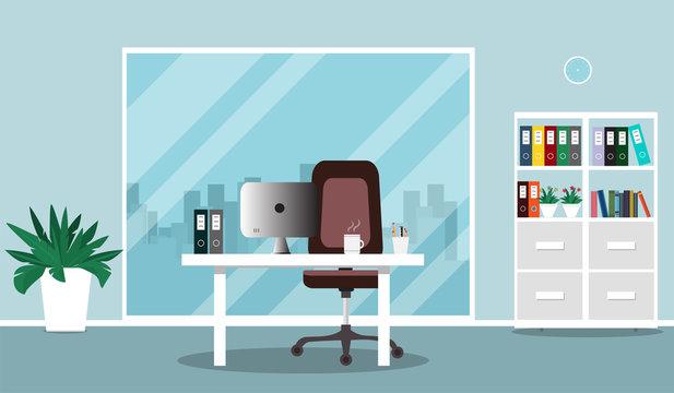 Flat office concept illustration. Chair, desk, vases, computer, window. Vector illustration