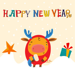 Vector Christmas card with the symbol of 2019 - Yellow Pig. Greeting card of New Year. Vector illustration EPS 10