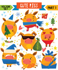 Cartoon cute pigs in different poses. Part 1. Vector set for winter decoration, web, card, poster or t-shirt.