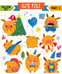 Cartoon cute pigs in different poses. Part 2. Vector set for winter decoration, web, card, poster or t-shirt.
