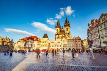Fototapete - Scenic view on Tyn church in Prague, Czech republic. Beautiful travel background.