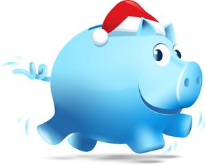 blaues rennendes Sparschwein mit Weihnachtsmannmütze