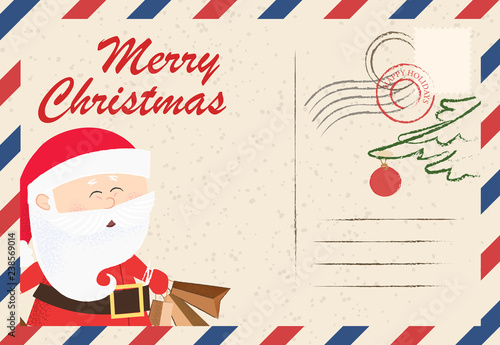 Merry Christmas lettering with cute Santa Claus on postcard
