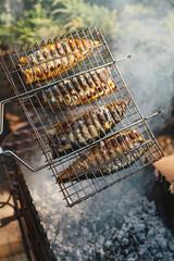 Mackerel fish grilling