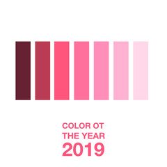 shades of coral, color of the year 2019, vector illustration