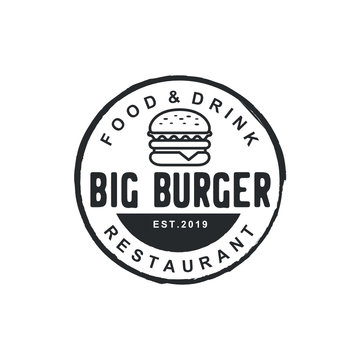 Burger logo design inspiration with Hipster Drawing style - Vector