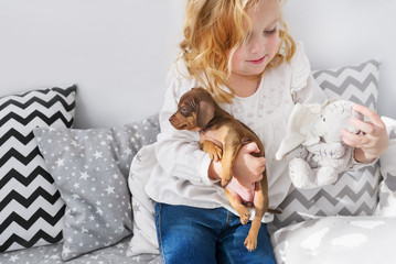 Cute little girl playing with small dog and soft toy.