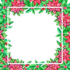 Christmas watercolor template with colored leaves