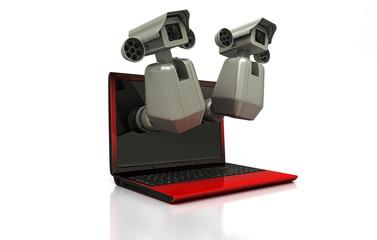 Spy cam che osservano da un laptop, concetto di privacy, illustrazione 3d