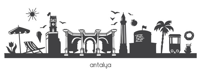 Vector modern illustration Antalya, Turkey with hand drawn doodle turkish symbols. Horizontal panoramic scene for banner or print design. Flat minimalistic style with black elements. - Vector