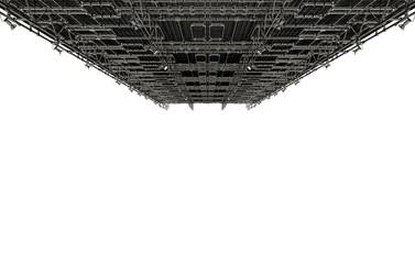 Impianto di condizionamento industriale a soffitto con tubature e condotti, illustrazione 3d