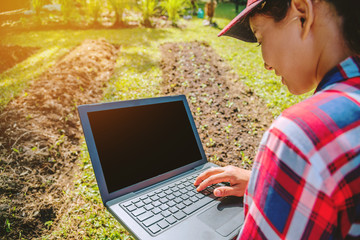 Asian woman using digital tablet in the cultivation of vegetable. modern technology application in agricultural growing activity.