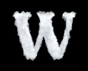 3d rendering of a letter-W-shaped cloud isolated on black background.