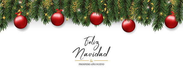 Wall Mural - Christmas card of pine tree ornaments in spanish