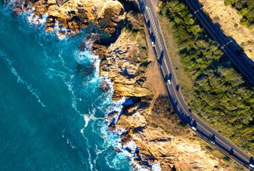 Drone view of Tuscany coastline, Italy