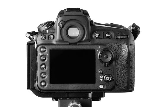 Cagliari, Italy 15/11/2018; Nikon D810 Dslr camera rear view, isolated on white background