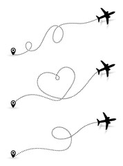 Set of Love travel route. Black Airplane line path icon of air plane flight route with start point and dash line trace. Vector illustration. Isolated on white background.