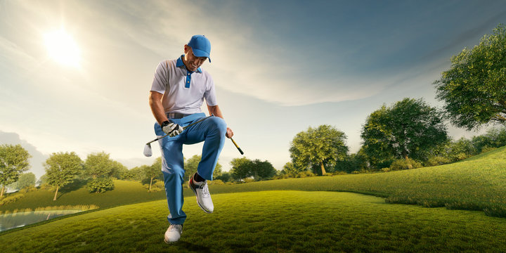 Male golf player on professional golf course. Angry golfer sad about losing and broke his golf club on knee
