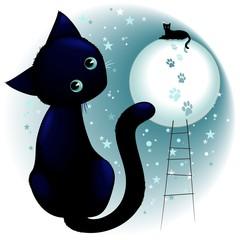 Fotobehang Draw Blue Kitty Dream on the Moon