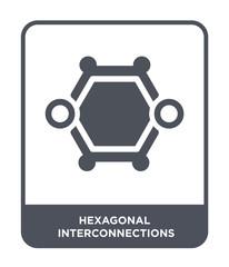 hexagonal interconnections icon vector