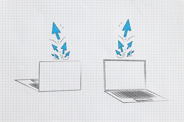 laptops front and back with stream of clicks and cursors popping out of the screens