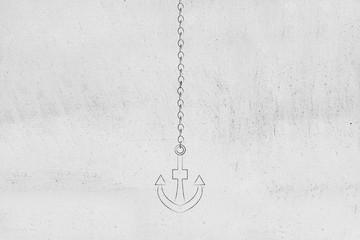 anchor and chain minimalistic icon