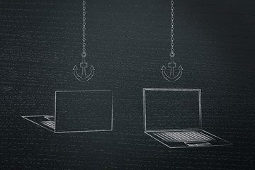 laptops back and front with anchor link icons above them
