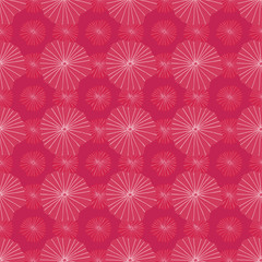 Bright pink vector seamless repeat pattern of abstract organic shapes representing lotus leaves or jellyfish in a batik tribal style.