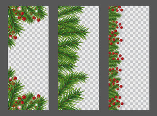 set christmas and new year vertical banner with garland or border of christmas tree branches and
