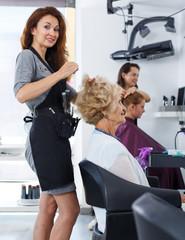 Hairdresser making hairstyle for elderly female