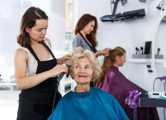 Hairdresser curling hair of elderly female