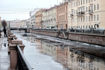 Griboedov canal in winter, Saint-Petersburg