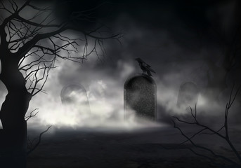 Frightening Halloween realistic vector background with dried trees silhouettes and black crow sitting on sloping gravestone on ancient cemetery illustration. Scary night graveyard covered fog or mist Wall mural