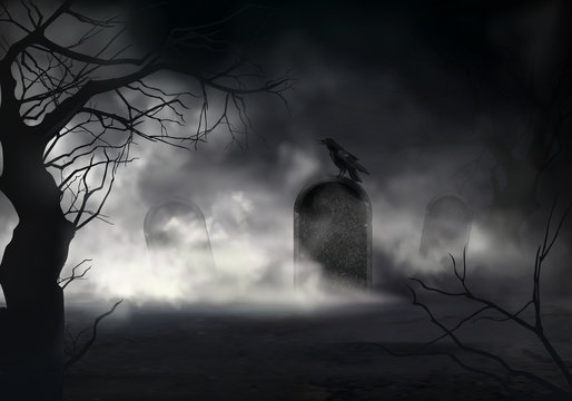 Frightening Halloween realistic vector background with dried trees silhouettes and black crow sitting on sloping gravestone on ancient cemetery illustration. Scary night graveyard covered fog or mist