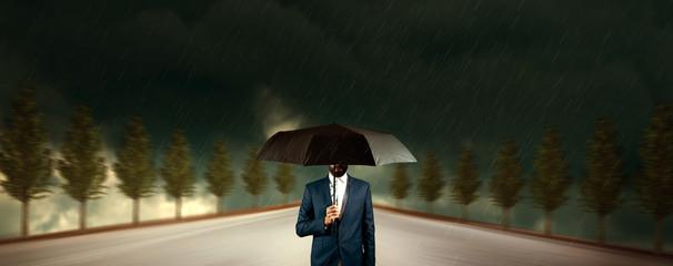 man hand black umbrella
