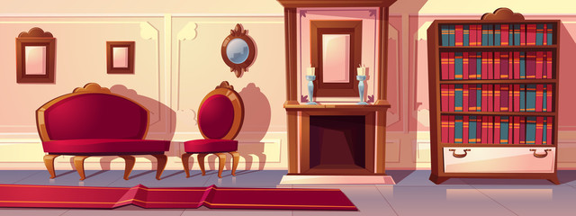 Vector cartoon illustration of luxury living room with fireplace. Rich ballroom or hallway with moldings, sofa and red carpet. Expensive interior with furniture in baroque or rococo style.