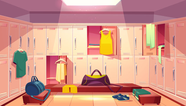 Vector cartoon school gym with wardrobe, changing room with open lockers and clothings for football or basketball team, background. Dressing of sports uniform, training equipment or athletic costume.