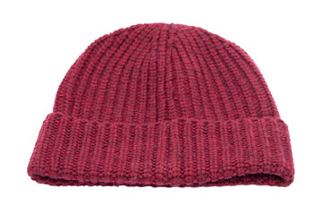 wool hat isolated on white background - clipping paths
