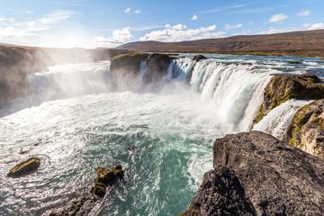Panorama view on beautiful Godafoss waterfall, Iceland