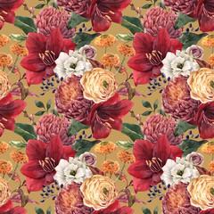 Papiers peints Fleurs Vintage Watercolor floral vector pattern