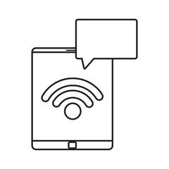 mobile wifi speech bubble on white background