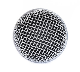 Close up microphone head isolated on white background